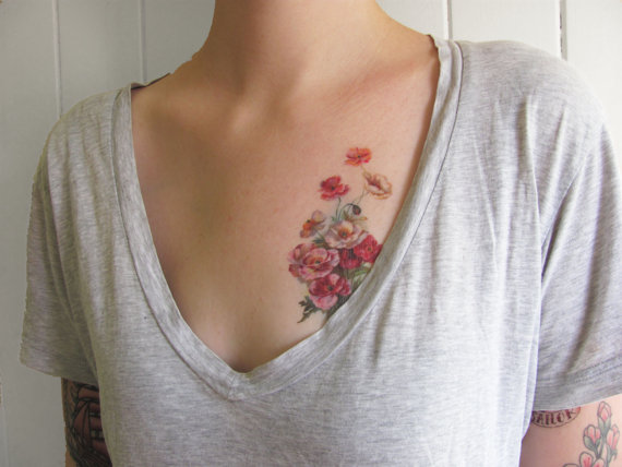 Colorfloraltemporarytattoo