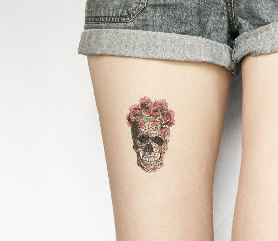SugarSkullTemporaryTattoo